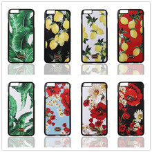 Luxury Sicily Leather Phone Cover Coque for iPhone 6 Case 6s 7 Plus Cases Plantain Banana Leaves Lemons Daisy Design Accessories
