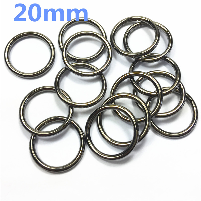 8-  20mm gunblack Metal O Ring for ribbon Dee Webbing Belt Buckle Bag Non Welded