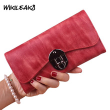 WIKILEAKS Soft Leather Women Lock Wallet Clutch For Girls Coin Purse Female Red Money Bag Portefeuille femme Dollar Price DZ29(China)