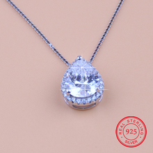 Trendy 100% 925 Sterling Silver Pendant Necklace AAAAA Austrian Crystal Zircon Choker Necklaces Fine Jewelry Birthday Gift