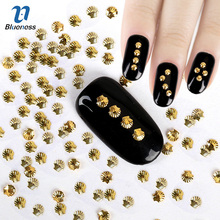 Gold Silver 2 Colors Shell Design 3D Copper Nail Art Charms Rivet Studs Glitter Rhinestones Decorations For Nails PJ464 PJ465