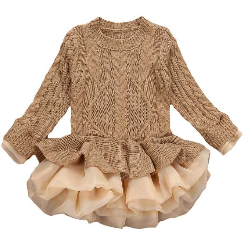 2017 Baby Girls Knitting Sweater Dress Spring Autumn Kid Long Sleeve Fashion Pullover Girls Princess Sweater TuTu Dresses<br>