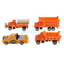 4pcs 1:64 Diecast Construction Trucks Cars Model Kids Toys Collectibles