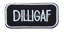 Music Dilligaf Badge Embroidered Patch Sticker, Punk Slogan Biker Vest Fabric Patch, DIY Clothing Accessories(China)
