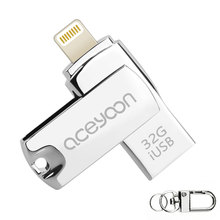 aceyoon USB Flash Drive 64GB / 32GB / 16GB for iPhone or iPad Lightning Pen Drive Storage Expansion iOS 10 iOS9 USB Memory Stick