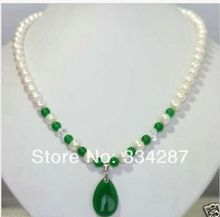 Jewelry white pearl and green jades pendant necklace(China)