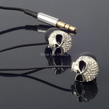 Diamond Metal Skull earphone 3.5mm In-ear Stereo candy Earphones Earbuds Headphones For iPhone iPod MP3 MP4 PC With Metal Box