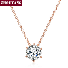 Top Quality Simple Six Claw CZ Rose Gold Color Nickel Free Pendant Necklace Crystal ZYN431 ZYN432(China)