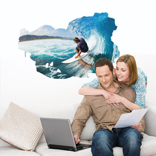 2017 New 3D Surf Wall Stickers Artistic Background Living Room Sofa Bedroom Bathroom Stickers PVC Home Decoration Wall Decals