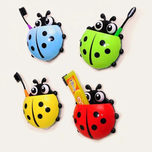 Lovely Ladybug Toothbrush Wall Suction Bathroom Shelves Sets Cartoon Sucker Toothbrush Holder / Suction Hooks 2017