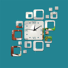 Hot!Square Mirror Silver Wall Clock Modern Design Home Decor Watch Wall Sticker Best Price High Quality Drop Shipping Jun23