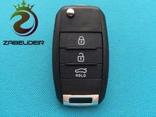 ZABEUDEIR 1pc of New Replacement folding Blank Fits For Kia Sportage Sorento 3 Button Remote Key FOB case shell with blade uncut(China)