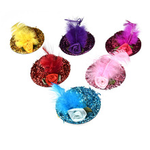 6pcs Dog pet caps Fashion Feather lace Rose Princess Pet Hat  Summer Dog Holiday Grooming Products