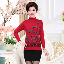 NIFULLAN Christmas Sweater Jumper Women Knitwear Casual Slim Pullover Turtleneck Print Plus Size Mother Knitted Tops