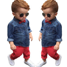 CCS340 Retail 2016 Spring children's clothing Sets baby suit kids suit kids cotton long sleeve denim shirts + red casual pants