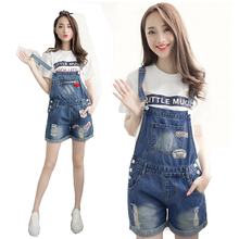 Big Pocket Denim Overalls for Women rompers womens jumpsuit Jeans Short Bodysuit Laides Playsuits Plus Size Shorts