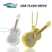 Colorful Diamond USB Flash Drive 8GB 16GB Pen Drive 32GB Pendrive U Disk Gold Silver Crystal Guitar Memory stick Gift