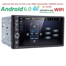 Quad Core Pure Android 6.0 1024*600 Resolution Car DVR 2 Din Universal Car DVD Player Double Din Stereo GPS Navigation Car Radio(China)