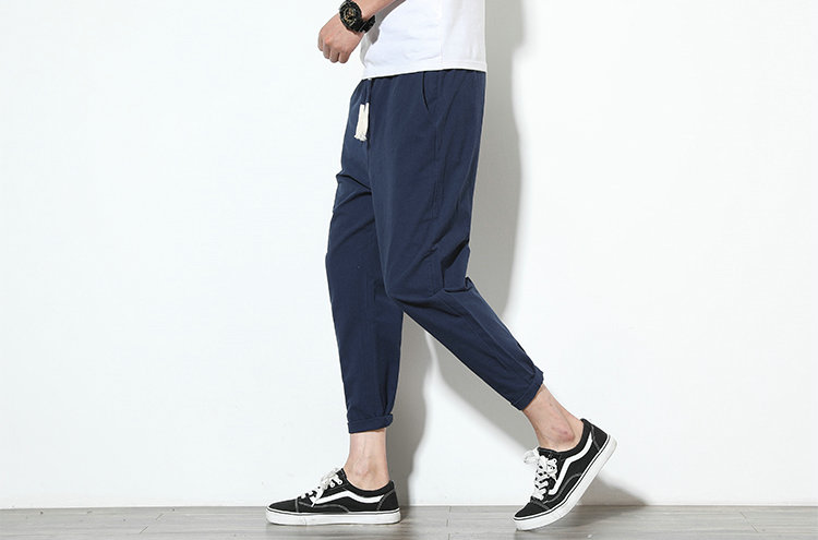 Cotton Linen Joggers Navy Men's Harem Pants 4