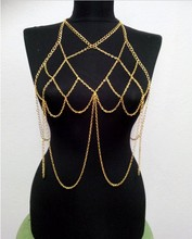 Luxury Halter Lingerie Sexy Showgirl Shoulder Choker Necklace Exotic Bra Chain Harness Slave Full Body Chain Jewelry