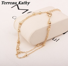 Terreau Kathy BK 2016 New Fashion Foot Jewelry Punk Style Gold/Silver Plated Double Bead Chain Ankle Bracelets For Women(China)