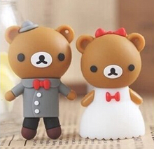 usb stick Best quality Cartoon Couple teddy bear 2GB-64GB USB 2.0 Flash Memory Stick Drive Thum/Car/Pen U Disk Festival S255(China)