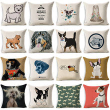 Lovely Funny Cartoon Dog Pillowcase Cotton Linen Cushion Decorative Pillows Use For Home Sofa Car Office Almofadas Cojines(China)