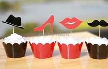 Promotion 24 PCS Lip Hat Beard cupcake wrappers toppers kids Baby birthday party favors Cup Cake decorations picks(China)