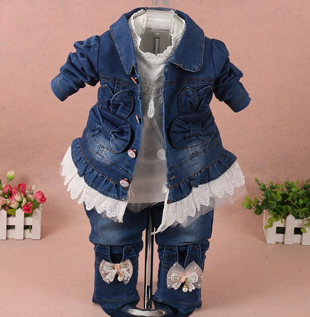 new 2017 spring girls lace flower denim jacket+t shirt+jeans clothing sets 3pcs kids clothes sets girls casual denim suit<br>