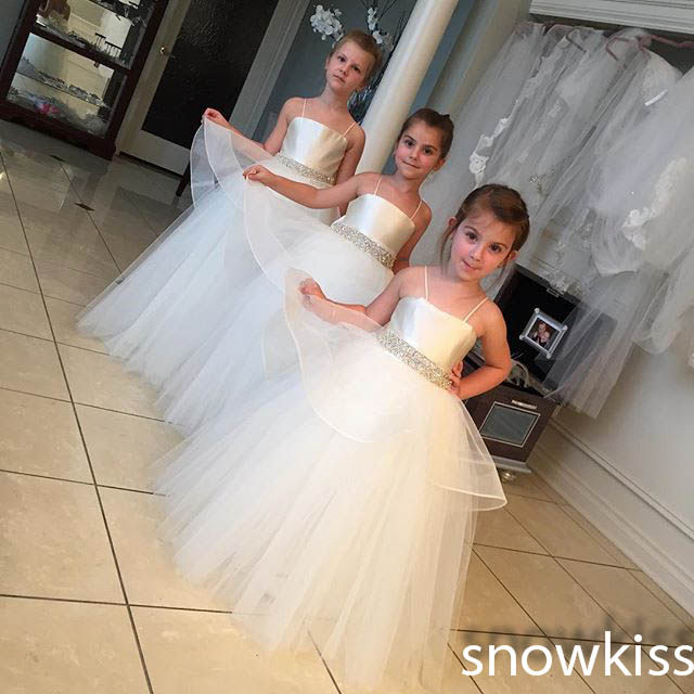 Simple white/ivory long spaghetti straps ball gowns with crystals sash for little girls beautiful wedding birthday party dress<br><br>Aliexpress