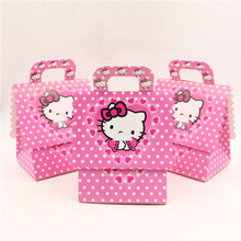 8pcs/lot happy birthday festival party favor box event party supplies hello kitty characterize gift/candy/chocolate bag/box