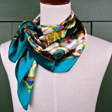 89*89cm Scarves Turquoise Multicolor Printed Big Square Shawl 100% Silk Scarf Unique Mulberry Scarves Women Hijab New(China)