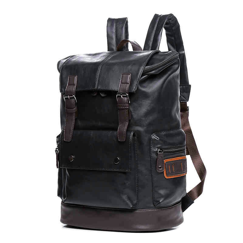 Large Capacity Mens Leather Backpack For Travel Casual Men Daypacks Leather Travle Backpack mochila<br>