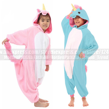 New Kids Baby Girls Boys Pink Blue Unicorn Onesies Costumes Pyjama Winter Fleece Cartoon Animal Cosplay Pajamas Party Halloween