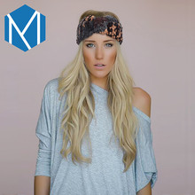 M MISM 2017 Vintage Women Wide Stretch Elastic Turban Crochet Head Wrap Female Twisted Knotted Hair Band Warm Headband(China)