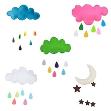 Cute Kids Play Tent Decoration Raining Clouds Water Drop/Star Moon Baby Bed Room Hanging Decor Wall Sticker(China)