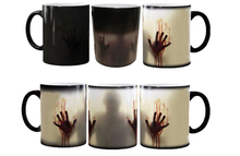 the walking dead mugs heat changing color  tea mugen heat reveal zombie mugs Daryl Dixon ceramic coffee mug magical magic mug