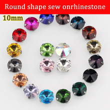 10mm 20pcs/pack round shape crystal sew on rhinestone with claw Wedding handmade materials(China)