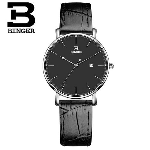 Trendy Genuine Wristatch Switzerland Brand Womens watch Leather Women quartz BINGER slim stylish for couple watches<br>