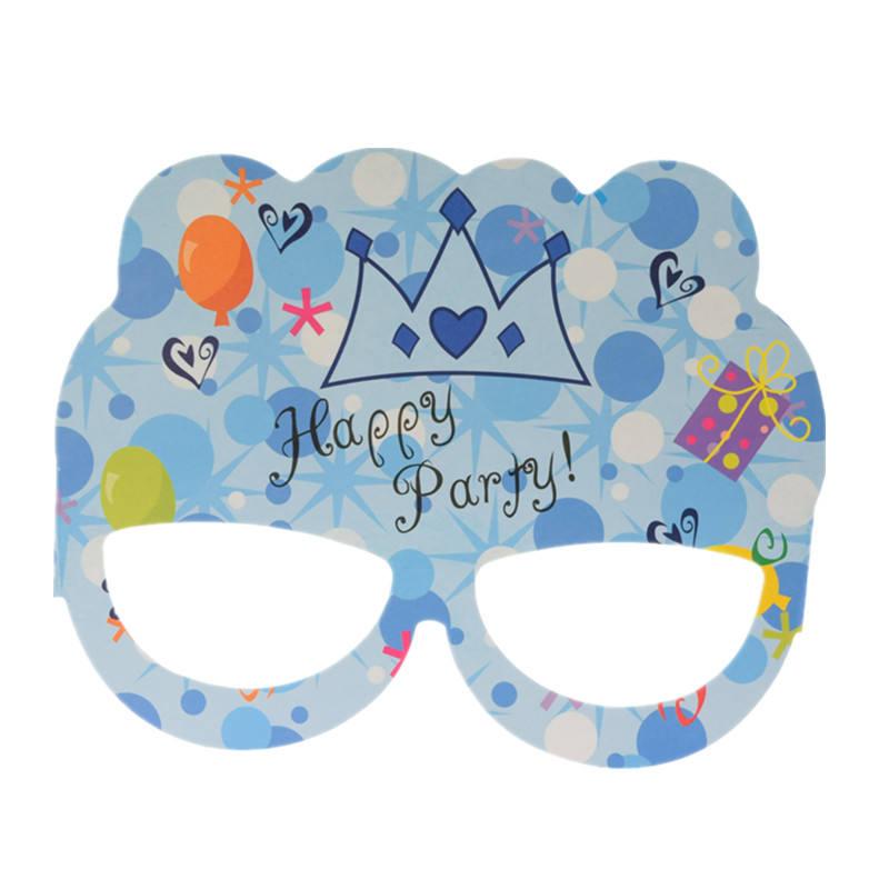 1pc Happy Party Glasses Birthday Paper Glasses Pink Blue Mask Little Boy