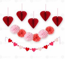 12pc/set (Coral Red Pink) Heart Hanging Paper Decoration Kit Valentine Love Banner Pom Poms Happy Valentine's Day Decorations