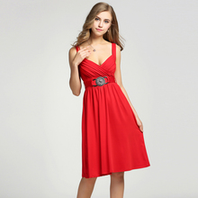 Buy FANALA Sexy milk silk summer dress Strap deep v neck high waist beach dresses women 2016 backless Knee-length Party dress for $14.69 in AliExpress store