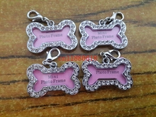 100pcs/lot Free Shipping 32x20mm Pet Collar ID Tag Dog Name Tag Rhinestone Bone Shaped Doggie Puppy Crystal Photo Frame