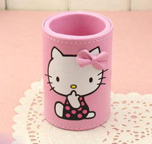Small Size Pu Leather Bow Hello Kitty Home School Travel Table Desk Sundries Organizer Goolds Holder(China)