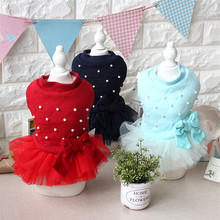 Autumn and Winter Warm Dress for Dogs New Design Beaded Bow Veil Decor Blue Green Red Color Pet Dog Coats Dresses All for Dogs