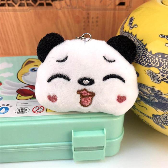 Fashion Panda Emoji Plush Toys Key Chain Ring Pom Bear Keychain Woman Bag Charms Man Car Keyring Wedding Party Trinket Jewelry (19)_