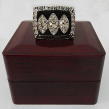 Factory direct sale Wood boxes1983 Super Bowl Oakland Raiders Basketball Zinc Alloy silver plated Replica Championship Rings