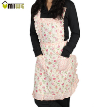 Restaurant Home Kitchen apron Flower Printed Pocket Lace Cooking Cotton Apron Stylish Rose Flower Pattern Chefs Cook Apron Bib