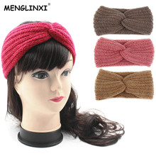 2018 New Winter Warmer Ear Knitted Headband For Women Girls European Solid Woolen Headwear Turban Hair Band Head Wrap For Lady(China)