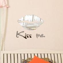 Luxury Sticker Removable Kiss Me Mirror Wall Sticker Decal Art Mural Home Room Decor wall stickers home decor living room nt0